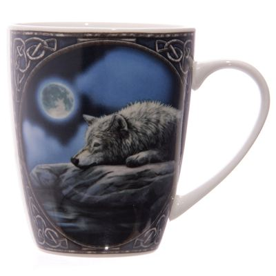 Lisa Parker Wolf Mug Lying by Lake